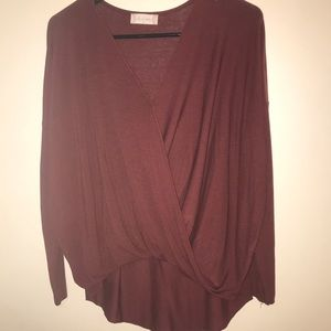 Altar'd state maroon long sleeve top